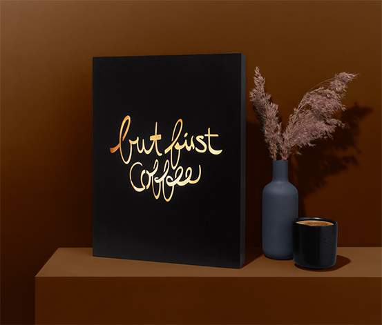 LED-Lichtbox »But first coffee«